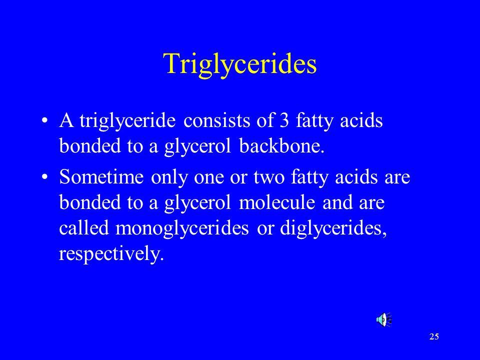 25 Triglycerides A triglyceride consists of 3 fatty acids bonded to a glycerol backbone. Sometime only one or two fatty acids are bonded to a glycerol
