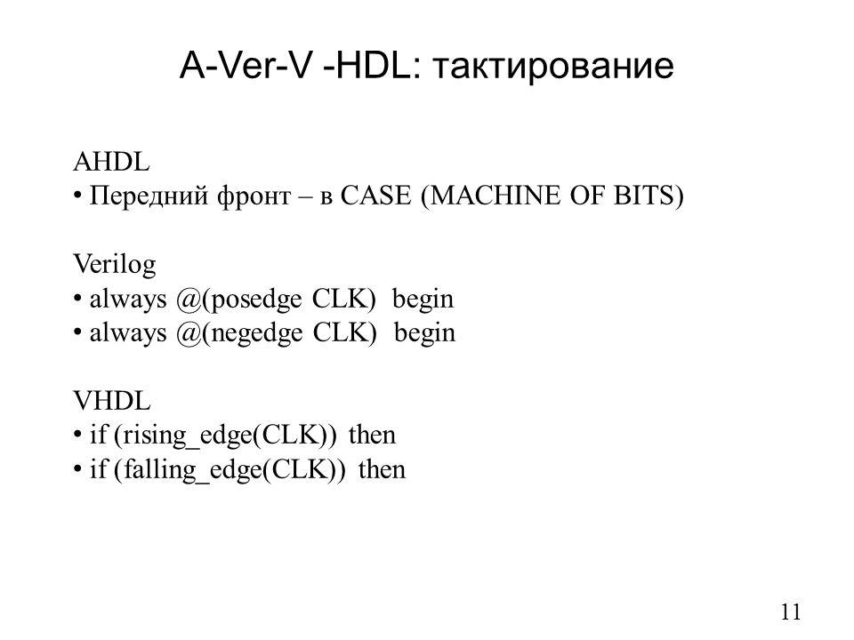 A-Ver-V -HDL: тактирование 11 AHDL Передний фронт – в CASE (MACHINE OF BITS) Verilog always @(posedge CLK) begin always @(negedge CLK) begin VHDL if (