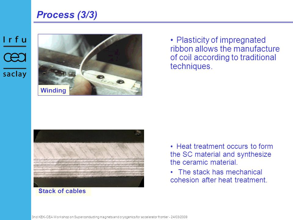 3nd KEK-CEA Workshop on Superconducting magnets and cryogenics for accelerator frontier - 24/03/2009 Process (3/3) Plasticity of impregnated ribbon allows the manufacture of coil according to traditional techniques.