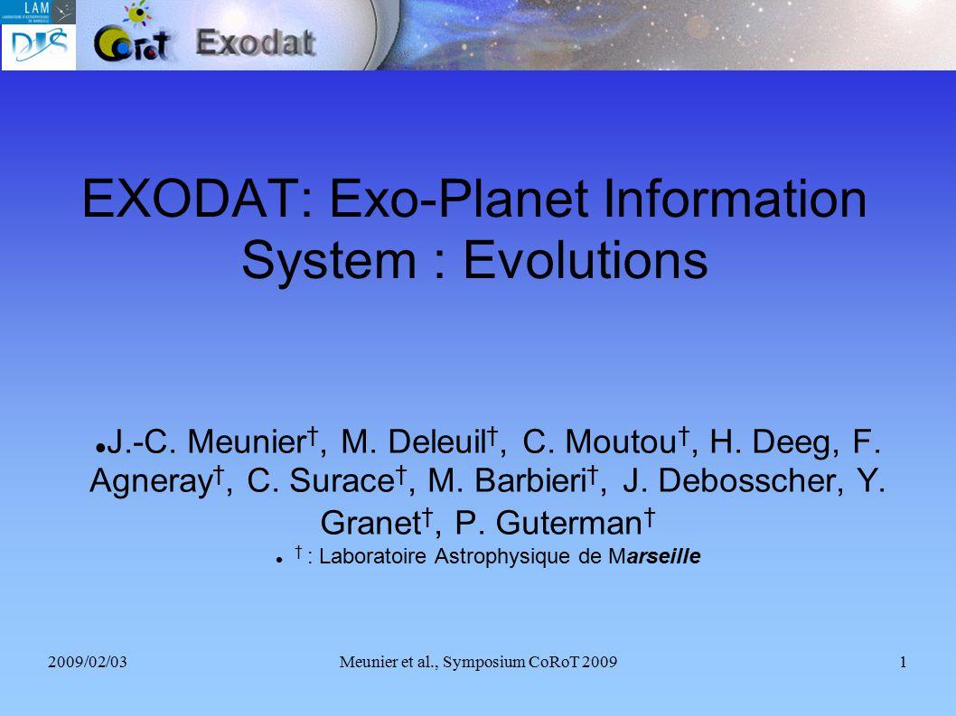 2009/02/03Meunier et al., Symposium CoRoT 20091 EXODAT: Exo-Planet Information System : Evolutions J.-C. Meunier †, M. Deleuil †, C. Moutou †, H. Deeg