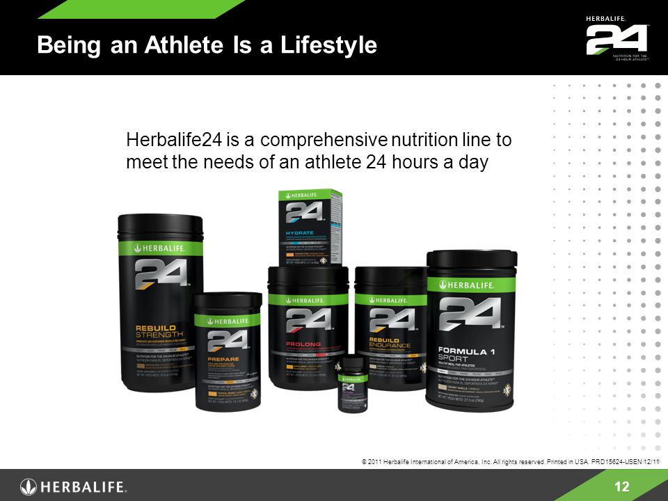 12 Being an Athlete Is a Lifestyle Herbalife24 is a comprehensive nutrition line to meet the needs of an athlete 24 hours a day © 2011 Herbalife Inter