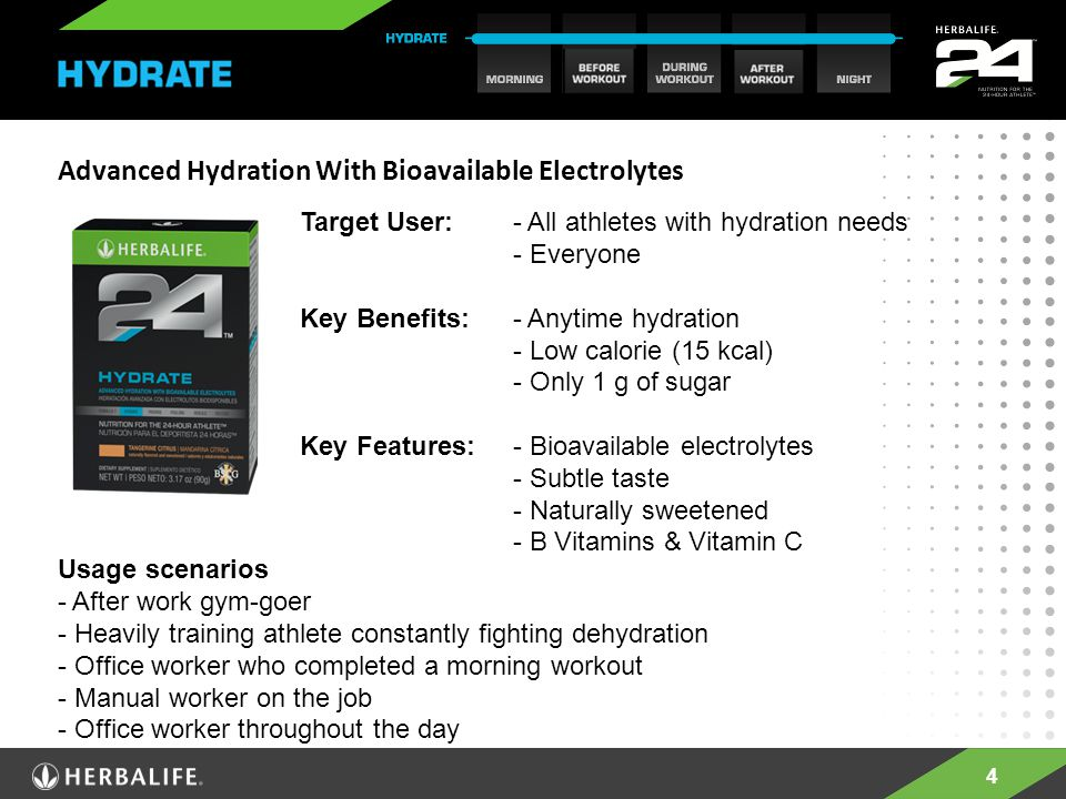 4 Advanced Hydration With Bioavailable Electrolytes Target User: - All athletes with hydration needs - Everyone Key Benefits: - Anytime hydration - Low calorie (15 kcal) - Only 1 g of sugar Key Features: - Bioavailable electrolytes - Subtle taste - Naturally sweetened - B Vitamins & Vitamin C Usage scenarios - After work gym-goer - Heavily training athlete constantly fighting dehydration - Office worker who completed a morning workout - Manual worker on the job - Office worker throughout the day