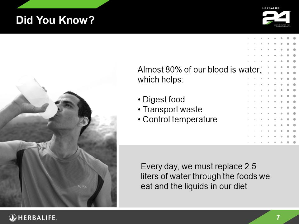 7 Every day, we must replace 2.5 liters of water through the foods we eat and the liquids in our diet Almost 80% of our blood is water, which helps: Digest food Transport waste Control temperature Did You Know?