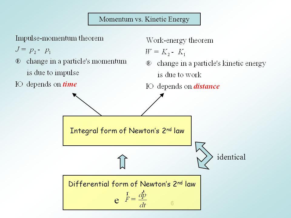 6 Momentum vs. Kinetic Energy Integral form of Newton's 2 nd law Differential form of Newton's 2 nd law identical