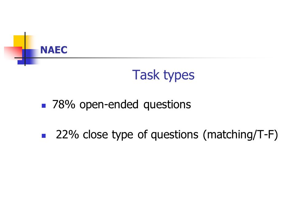 NAEC Task types 78% open-ended questions 22% close type of questions (matching/T-F)