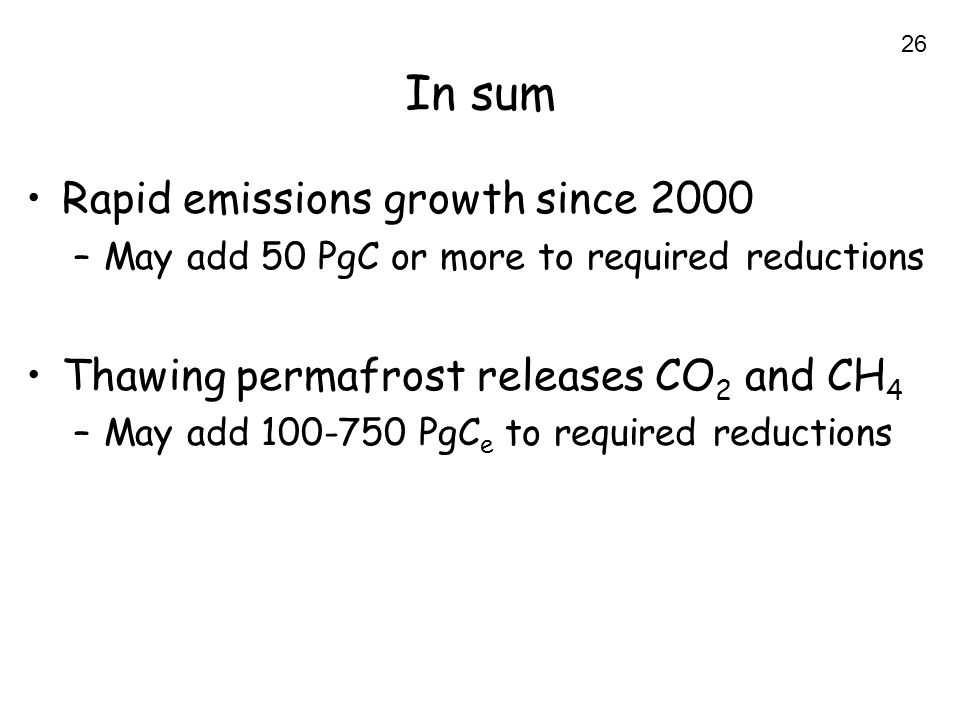 26 In sum Rapid emissions growth since 2000 –May add 50 PgC or more to required reductions Thawing permafrost releases CO 2 and CH 4 –May add 100-750 PgC e to required reductions