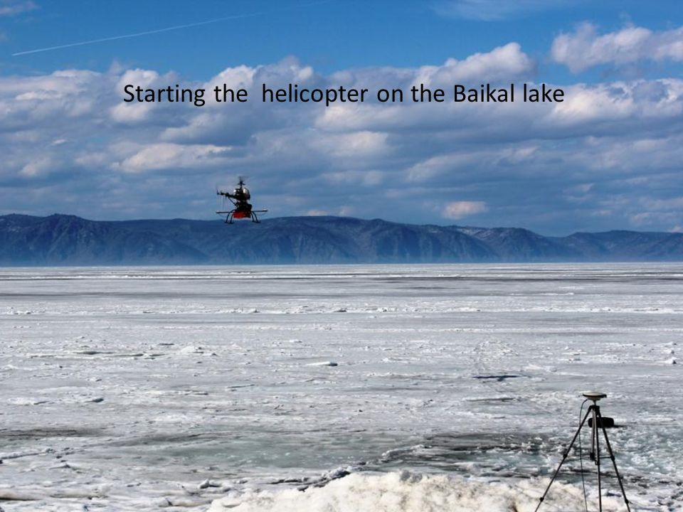 Starting the helicopter on the Baikal lake