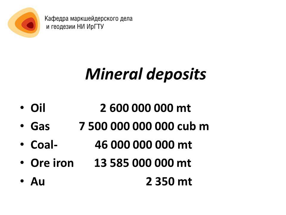 Mineral deposits Oil 2 600 000 000 mt Gas 7 500 000 000 000 cub m Coal- 46 000 000 000 mt Ore iron 13 585 000 000 mt Au 2 350 mt