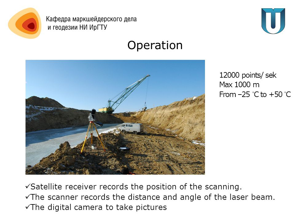 Operation Satellite receiver records the position of the scanning.