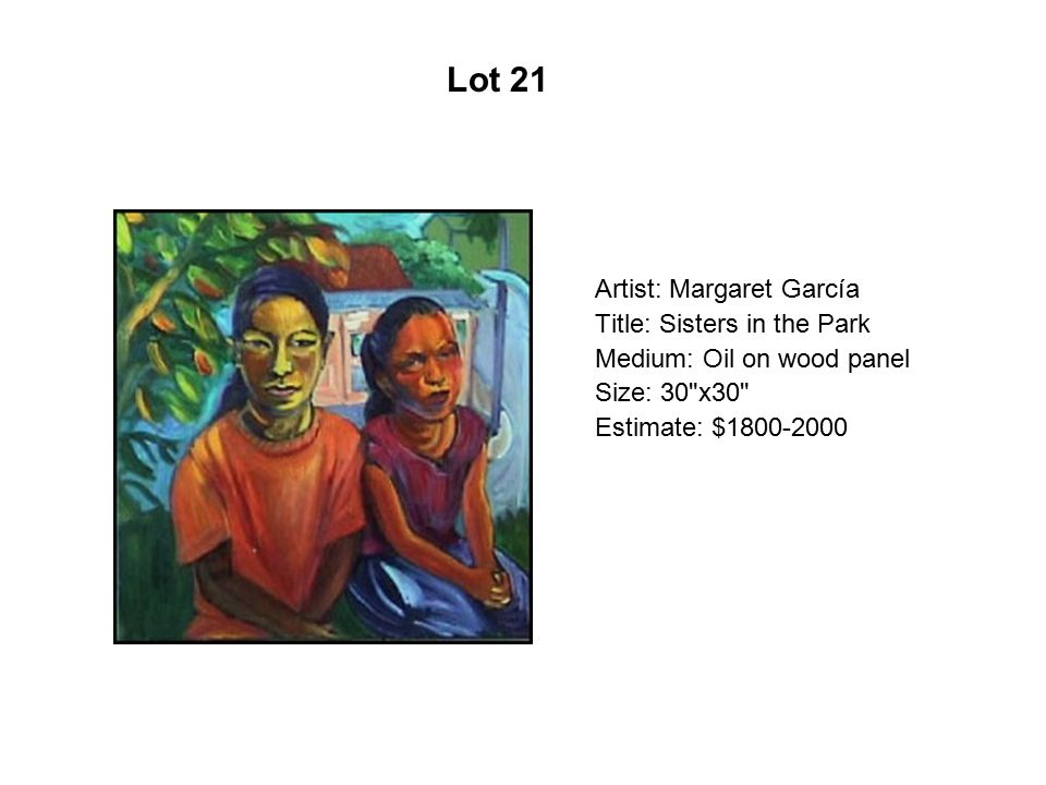Artist: Margaret García Title: Sisters in the Park Medium: Oil on wood panel Size: 30