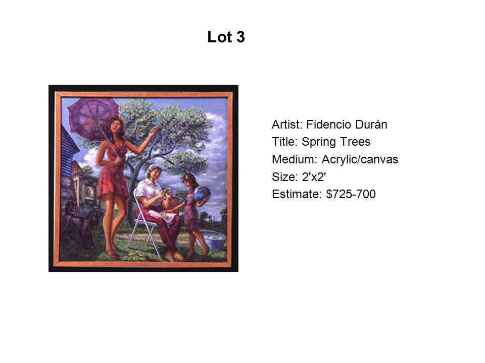 Artist: Antonio Rael Title: Infatuation Medium: Acrylic on canvas Size: 16 x20 Estimate: $1800-2000 Lot 204