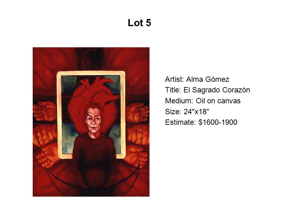 Artist: Alma Gómez Title: Socorro Medium: Oil on canvas Size: 40 x30 Estimate: $1600-1700 Lot 96