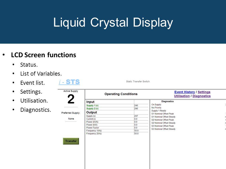 LCD Screen functions Status. List of Variables. Event list. Settings. Utilisation. Diagnostics. Liquid Crystal Display