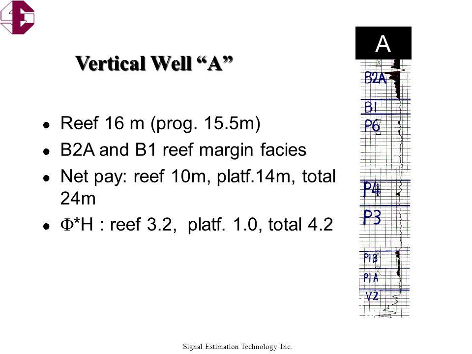 Signal Estimation Technology Inc. l Reef 16 m (prog. 15.5m) l B2A and B1 reef margin facies l Net pay: reef 10m, platf.14m, total 24m l  *H : reef 3.