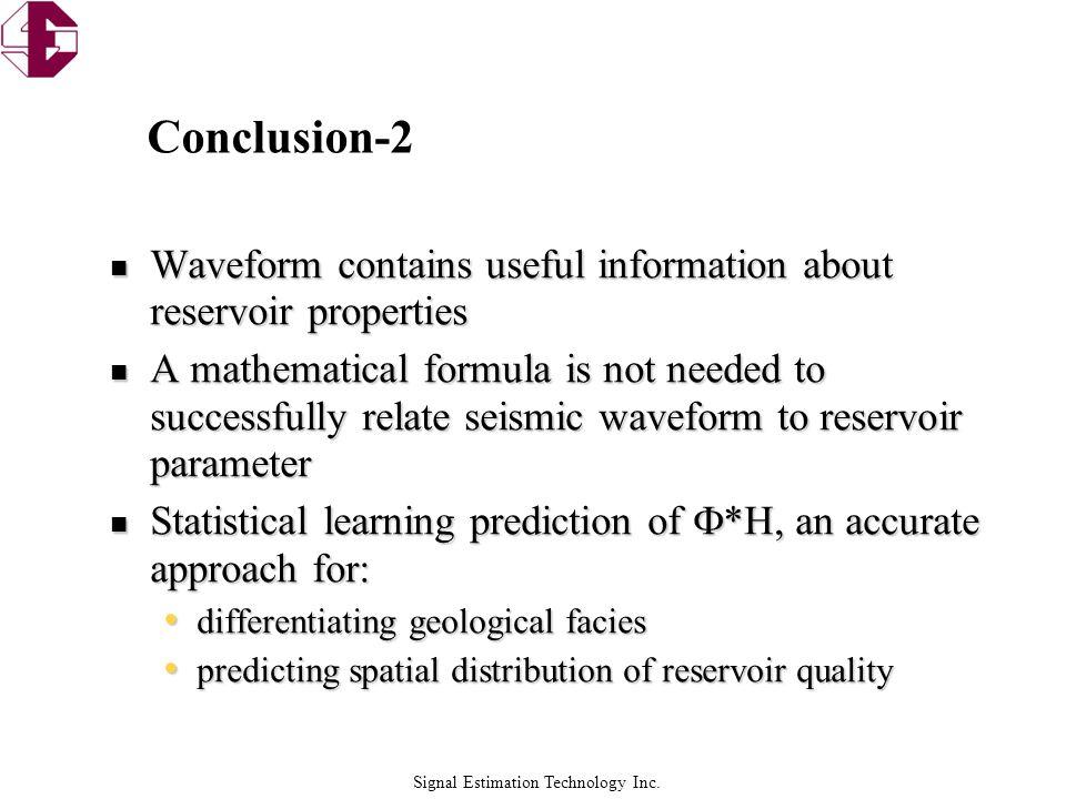 Signal Estimation Technology Inc. Conclusion-2 Waveform contains useful information about reservoir properties Waveform contains useful information ab