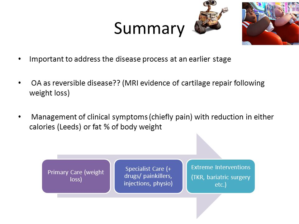 Primary Care (weight loss) Specialist Care (+ drugs/ painkillers, injections, physio) Extreme Interventions (TKR, bariatric surgery etc.) Summary Impo