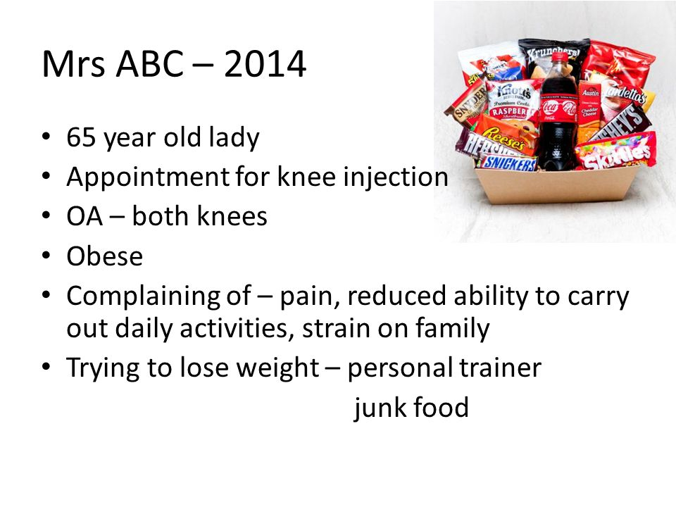 Mrs ABC – 2014 65 year old lady Appointment for knee injection OA – both knees Obese Complaining of – pain, reduced ability to carry out daily activit