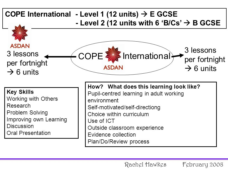 COPE International - Level 1 (12 units)  E GCSE - Level 2 (12 units with 6 'B/Cs'  B GCSE COPE International 3 lessons per fortnight  6 units Key Skills Working with Others Research Problem Solving Improving own Learning Discussion Oral Presentation How.