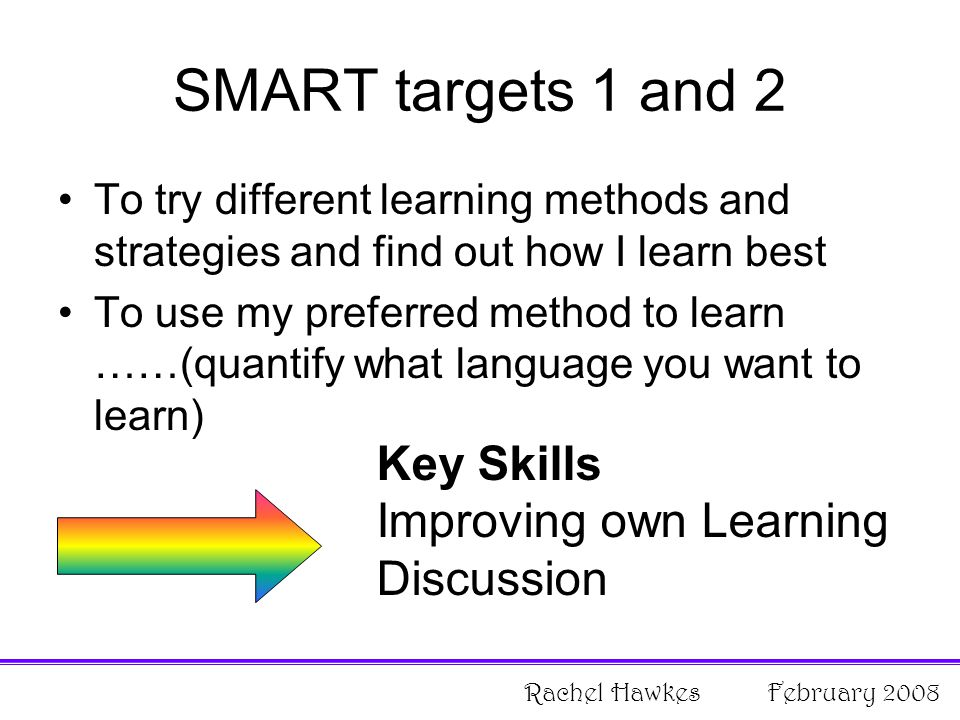 SMART targets 1 and 2 To try different learning methods and strategies and find out how I learn best To use my preferred method to learn ……(quantify what language you want to learn) Key Skills Improving own Learning Discussion Rachel Hawkes February 2008