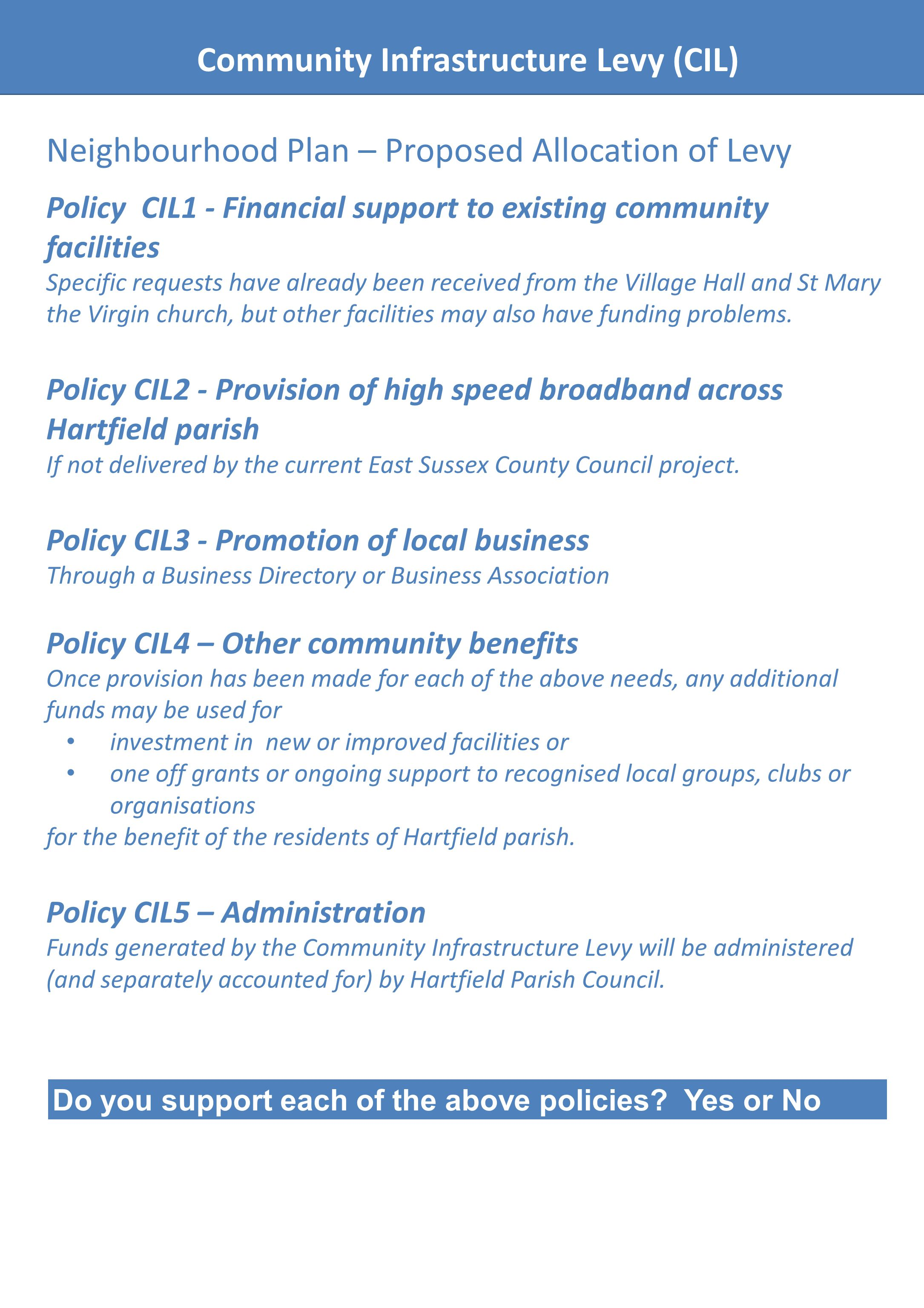 Community Infrastructure Levy (CIL) Neighbourhood Plan – Proposed Allocation of Levy Policy CIL1 - Financial support to existing community facilities Specific requests have already been received from the Village Hall and St Mary the Virgin church, but other facilities may also have funding problems.