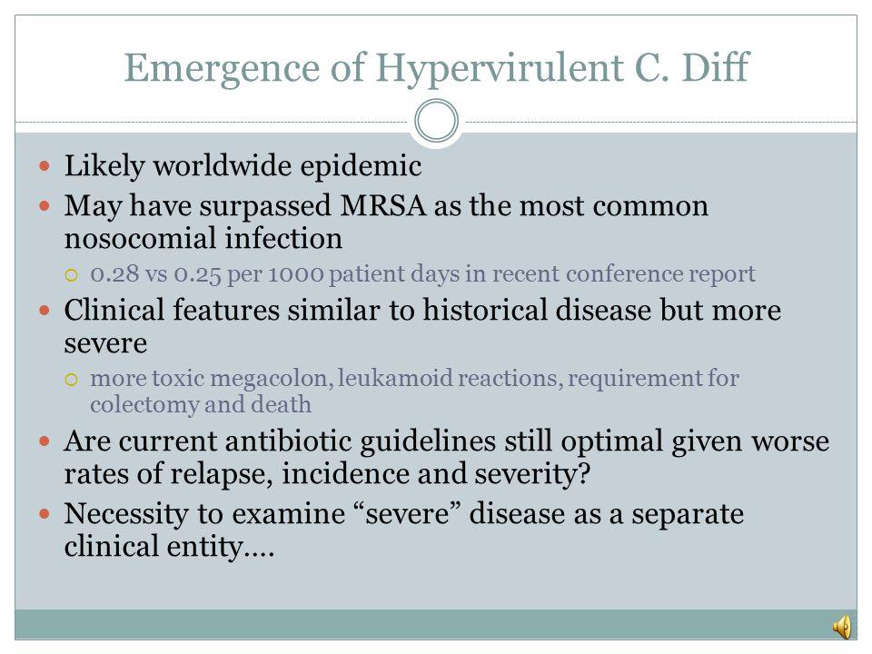 Emergence of Hypervirulent C. Diff B1/NAP1/027 strain.