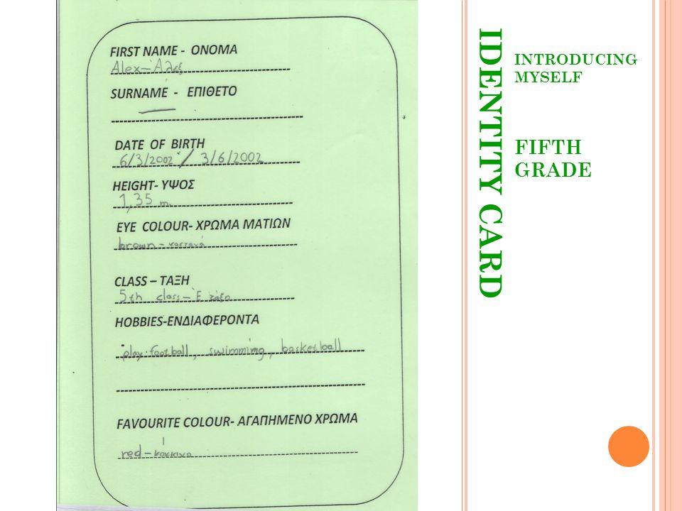 IDENTITY CARD INTRODUCING MYSELF FIFTH GRADE