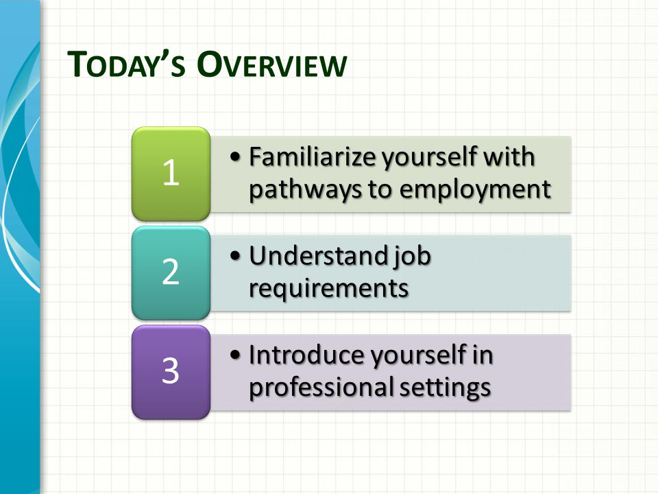 Pathways to Employment identify job requirements, professional qualifications and processes to find work (Handouts A1-2 and B1) http://www.senecac.on.ca/fulltime/FCA.html http://www5.hrsdc.gc.ca/NOC/