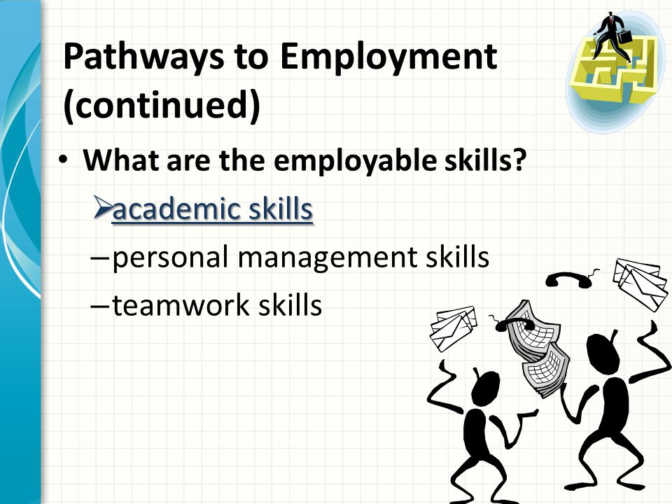 Pathways to Employment (continued) Academic Skills – good communication skills – a capacity to analyze, evaluate and solve problems – the ability to learn new assignments and new ways of doing the job when technology changes