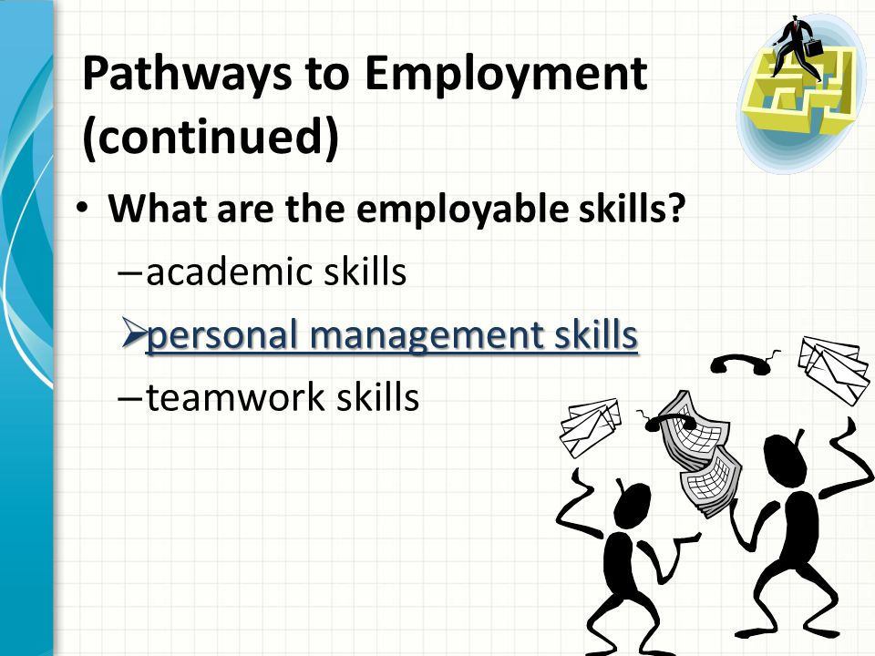 Pathways to Employment (continued) Personal Management Skills – a positive attitude – the ability to take responsibility and be accountable – the ability to deal with changes in the workplace and be innovative – respect for others