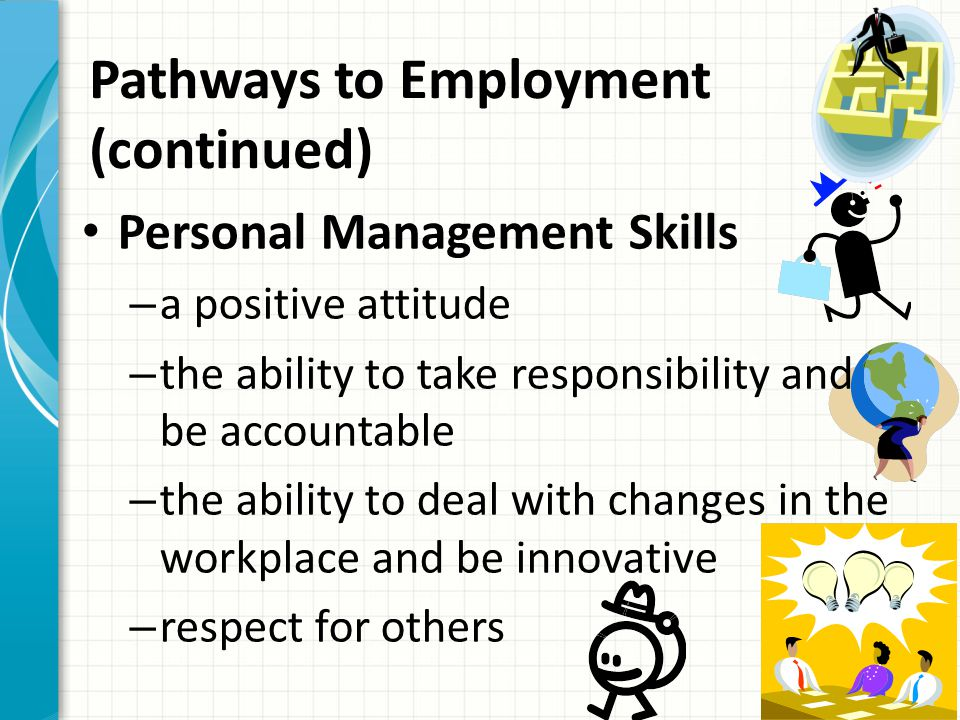 Pathways to Employment (continued) What are the employable skills.