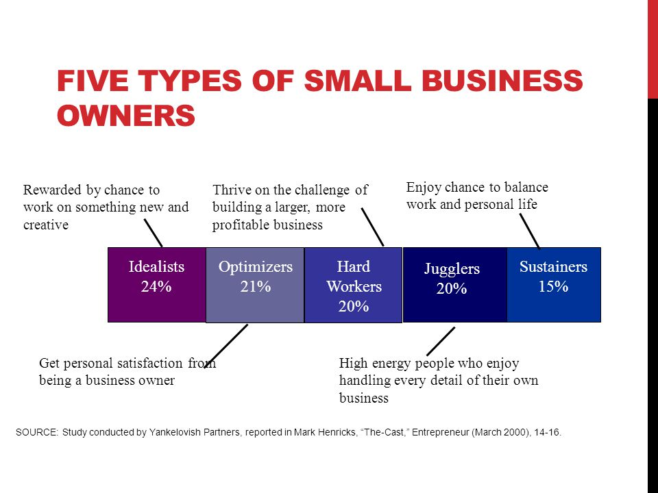 FIVE TYPES OF SMALL BUSINESS OWNERS 10 Idealists 24% Optimizers 21% Hard Workers 20% Jugglers 20% Sustainers 15% Rewarded by chance to work on somethi