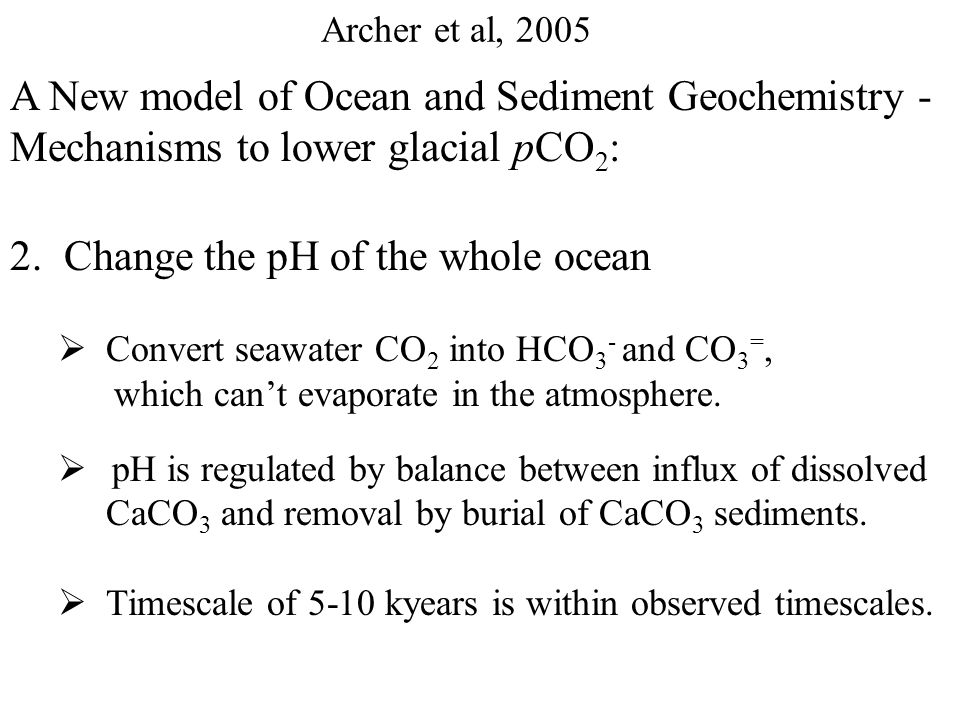 Archer et al, 2005 A New model of Ocean and Sediment Geochemistry - Mechanisms to lower glacial pCO 2 : 1.Increase biological activity at surface so that Carbon sinks to deep sea sediments as particles  Increase Ocean Inventory of PO 4 3- and NO 3 -  Change the ratio of nutrient to C in phytoplankton  Iron limitation of biological production at surface indicates a Southern Ocean Biological Pump could have intensified in a dustier, more iron-rich environment.