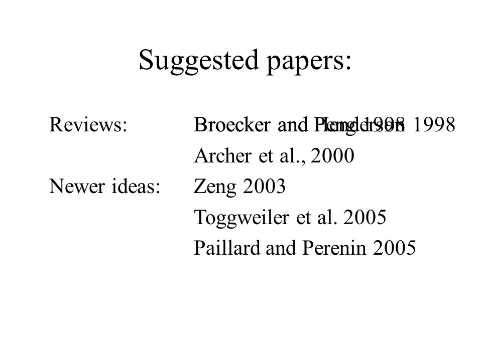 Newest ideas yet: Toggweiler et al Contains 6 pages of good references at the end.