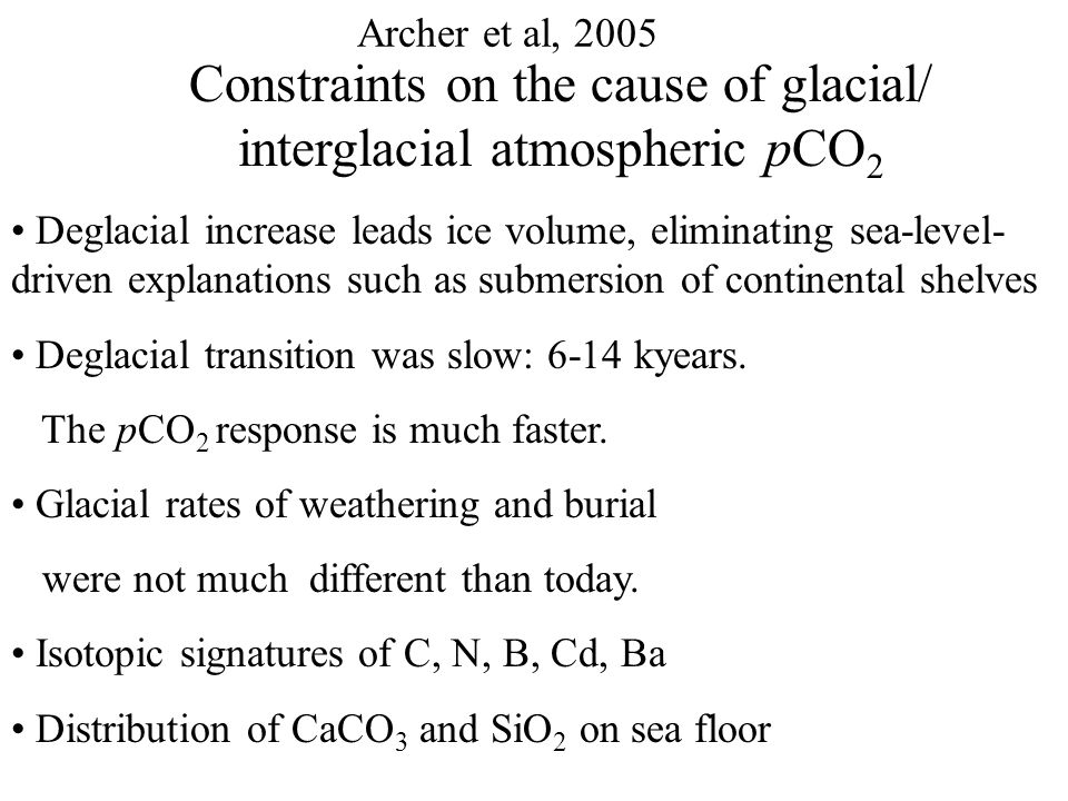 Archer et al, 2005 A New model of Ocean and Sediment Geochemistry: Tropical Temperatures Lowering Tropical Sea Surface Temperature by 4°C decreases pCO 2 by 5 μatm.