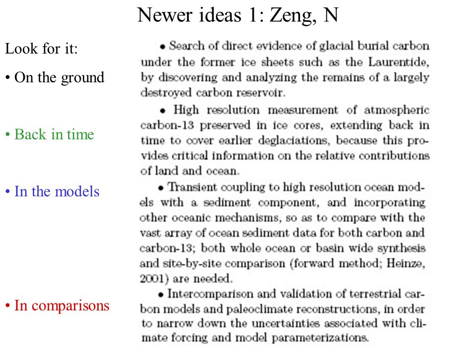 Newer ideas 1: Zeng, N Data from Table 1: Land carbon difference, Holocene - LGM