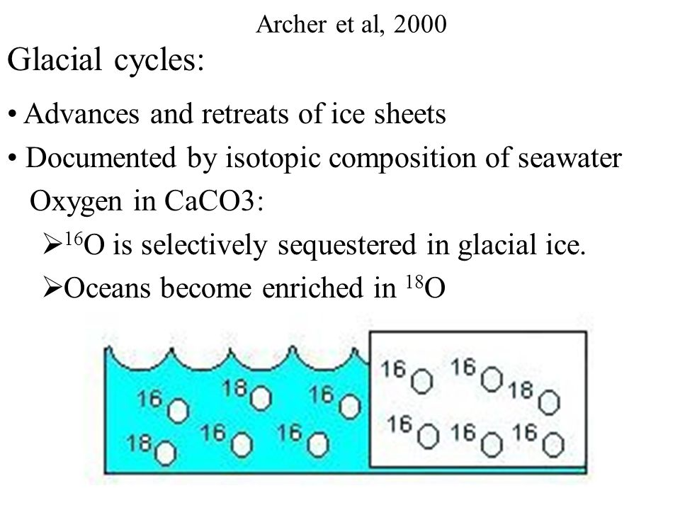Glacial pCO 2 was 80-90 μatm lower than in the interglacial Radiative forcing from CO 2 accounts for half of climate change  The terrestrial biosphere and soil carbon reservoirs would have to be approximately double in size to deplete pCO 2 by 80 μatm.  δ 13 C from deep-sea CaCO 3, more 12 C rich during glacial time, tells us that if anything, the terrestrial biosphere released carbon during glacial time [Shackleton, 1977] Archer et al, 2005