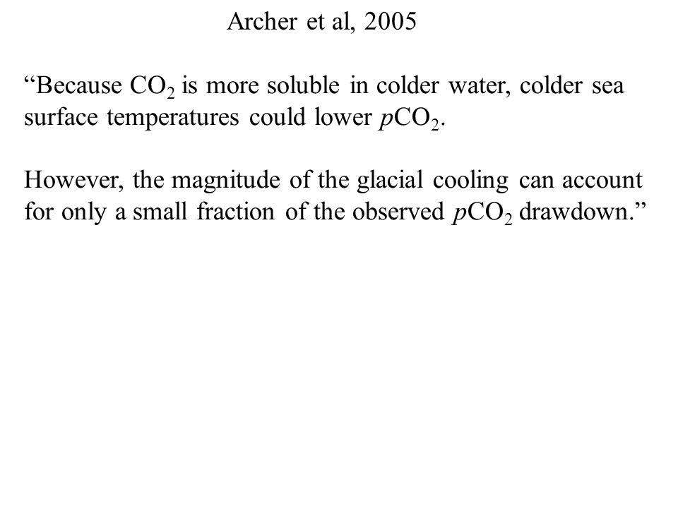 Archer et al, 2005 Clear physical link between Northern Hemisphere summer heating and ice sheets No easy link from orbital variations to pCO 2.