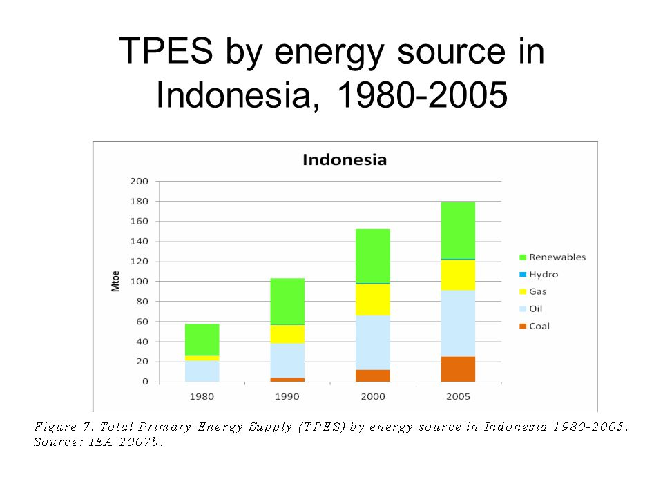 TPES by energy source in Malaysia, 1980-2005