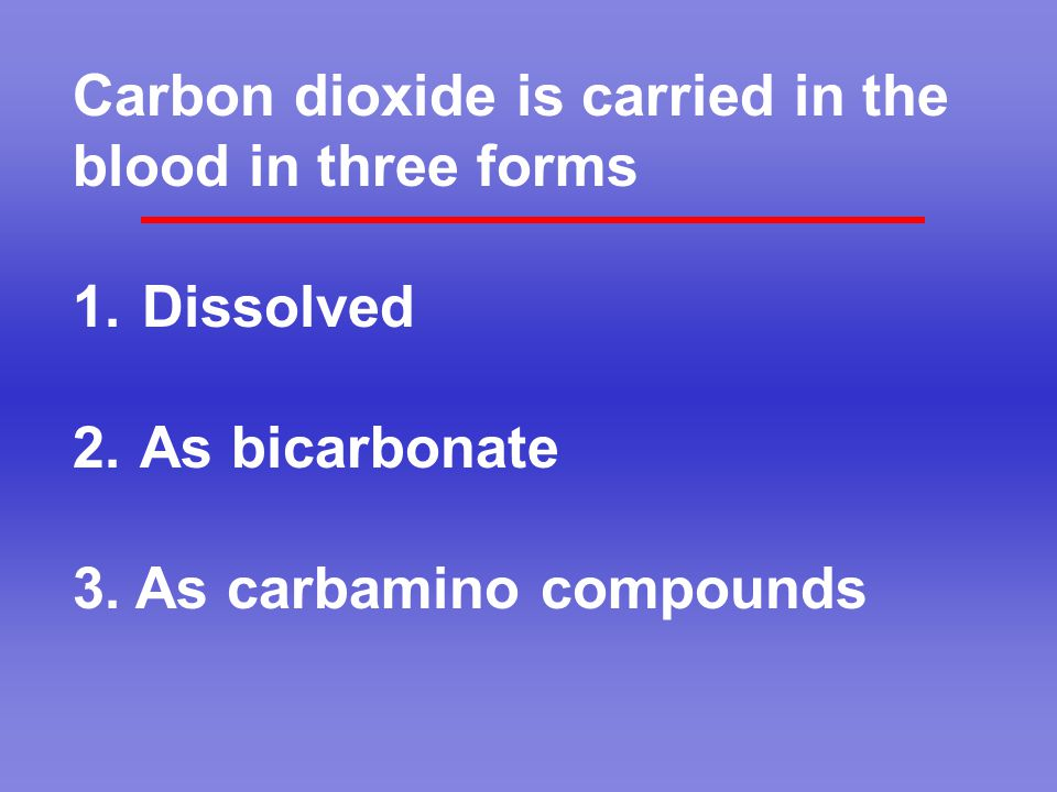 Carbon dioxide is carried in the blood in three forms 1. Dissolved 2. As bicarbonate 3. As carbamino compounds