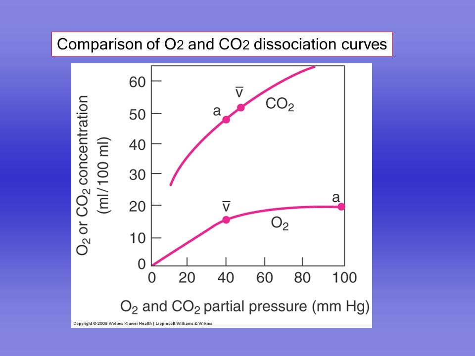 Comparison of O 2 and CO 2 dissociation curves
