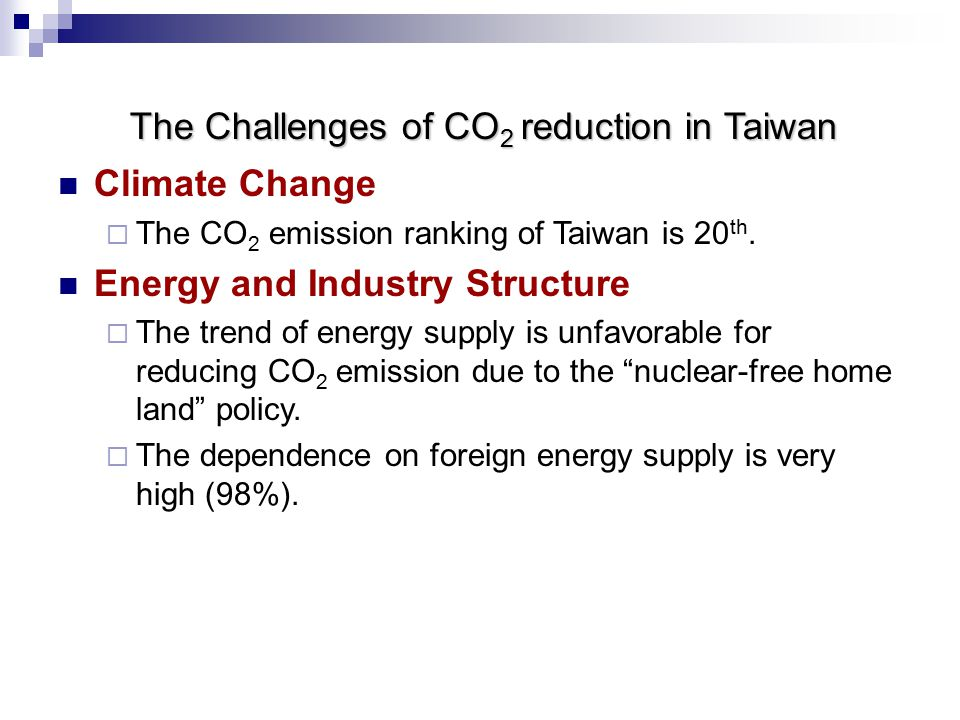 The Challenges of CO 2 reduction in Taiwan Climate Change  The CO 2 emission ranking of Taiwan is 20 th.