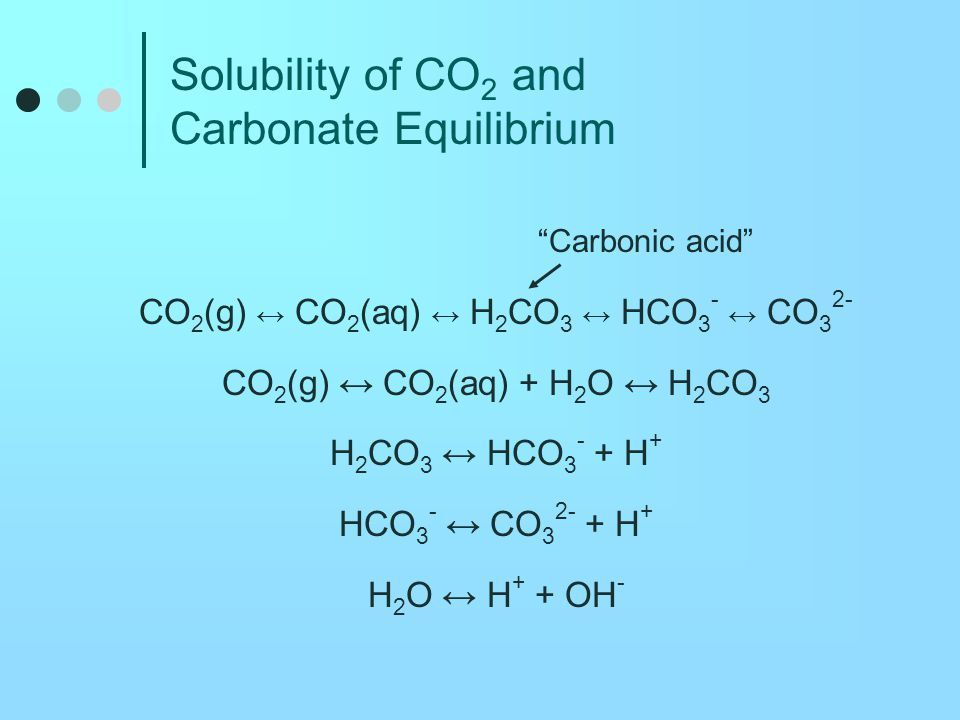 CO 2 Dissolution, HCO 3 - and CO 3 2- Another perspective CO 2 + H 2 O ↔ H 2 CO 3 H 2 CO 3  H + + HCO 3 - Net direction if pH >~ 6 H + + CO 3 2-  HCO 3 - Net direction if pH <~ 10 CO 2 + CO 3 2- + H 2 O  2HCO 3 -