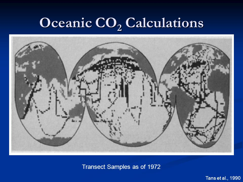 Oceanic CO 2 Calculations Transect Samples as of 1972 Tans et al., 1990