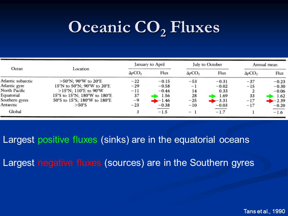 Oceanic CO 2 Fluxes Largest positive fluxes (sinks) are in the equatorial oceans Largest negative fluxes (sources) are in the Southern gyres Tans et al., 1990