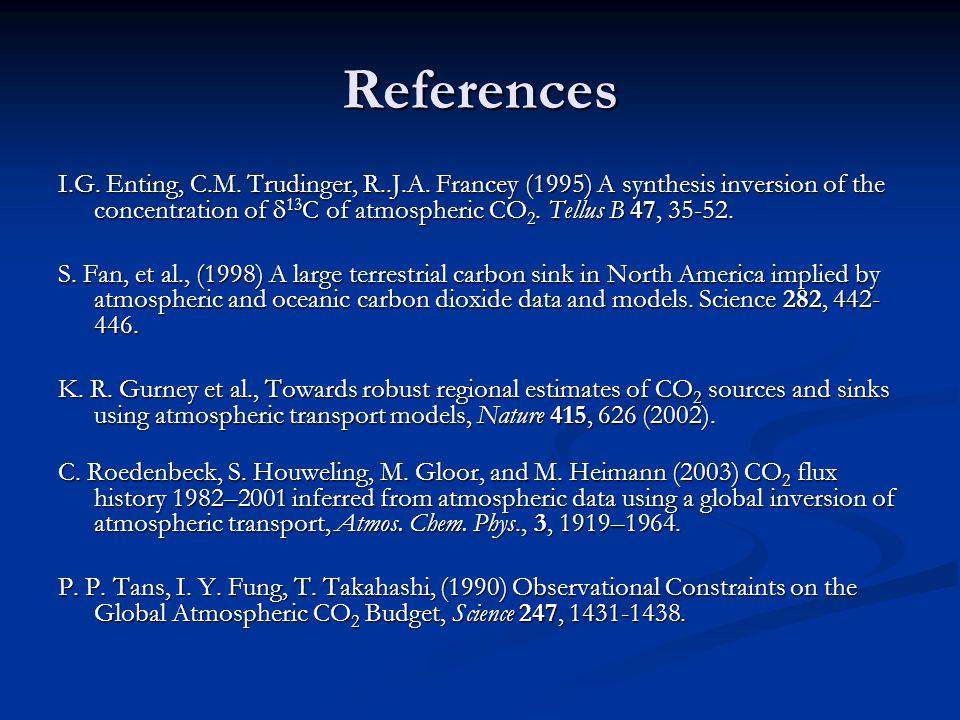 References I.G. Enting, C.M. Trudinger, R..J.A.
