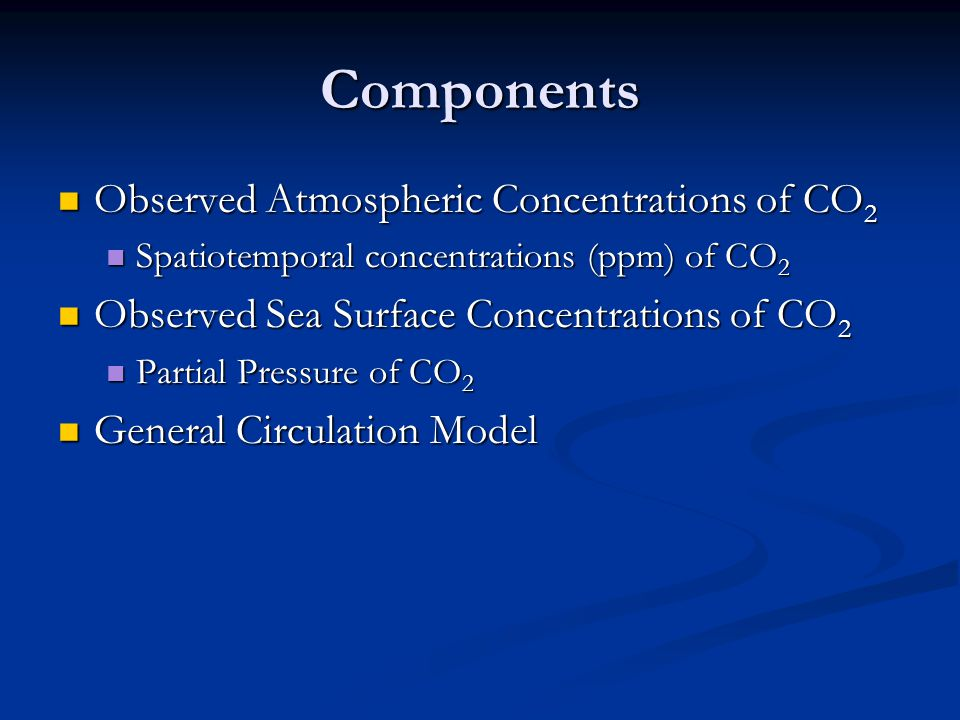 Components Observed Atmospheric Concentrations of CO 2 Observed Atmospheric Concentrations of CO 2 Spatiotemporal concentrations (ppm) of CO 2 Spatiotemporal concentrations (ppm) of CO 2 Observed Sea Surface Concentrations of CO 2 Observed Sea Surface Concentrations of CO 2 Partial Pressure of CO 2 Partial Pressure of CO 2 General Circulation Model General Circulation Model