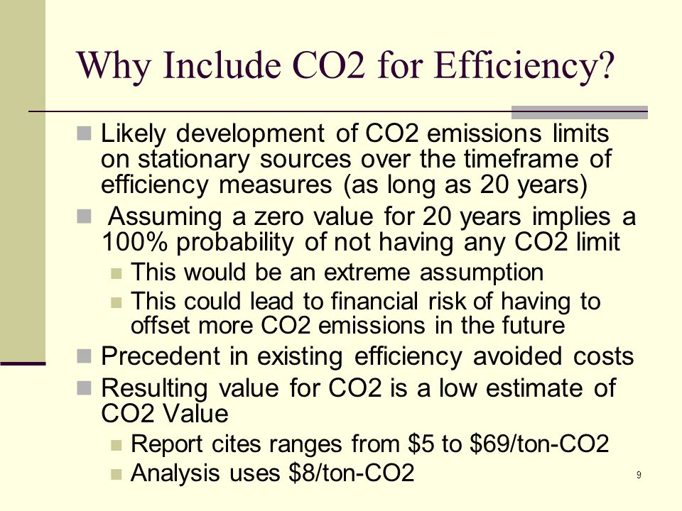 9 Why Include CO2 for Efficiency.