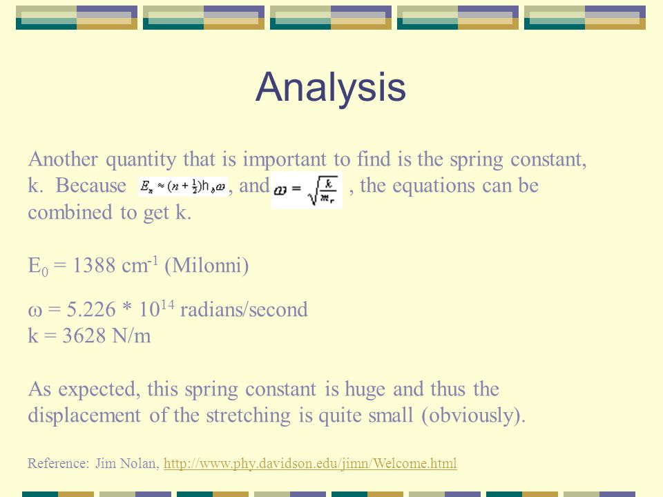 Analysis Another quantity that is important to find is the spring constant, k.
