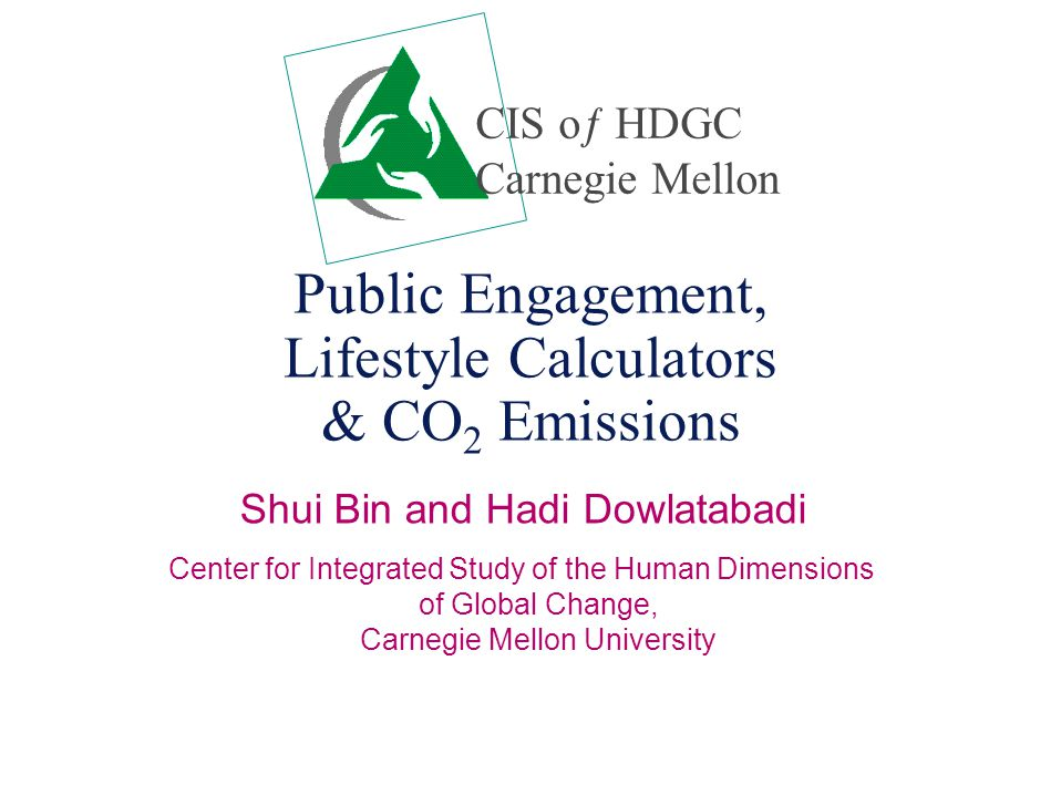 Public Engagement, Lifestyle Calculators & CO 2 Emissions Shui Bin and Hadi Dowlatabadi Center for Integrated Study of the Human Dimensions of Global