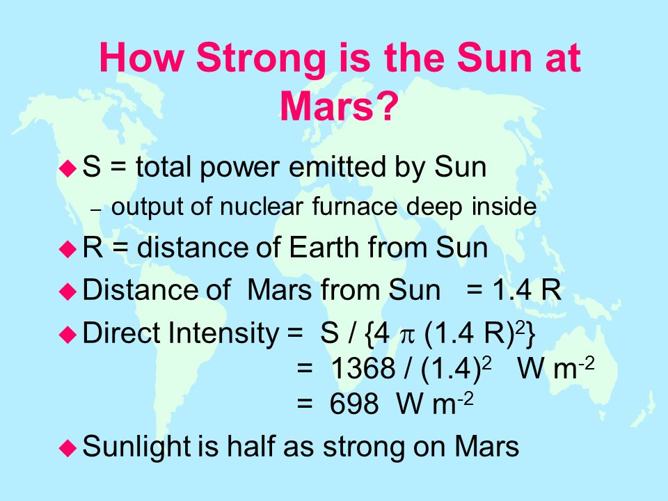 How Strong is the Sun at Mars.